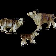 Vintage Bone China Miniature Brown Oxen Water Buffalo Made in Japan Animal Figurine Set
