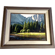 June Carey, Realistic Oil Painting of Yosemite Falls Signed by Listed California Artist
