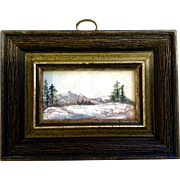F Lightle, Miniature Oil Painting Snow Covered Mountain Signed by Artist