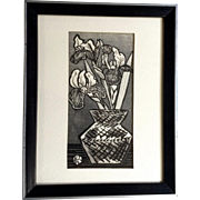 Okuyama Gijin, Japanese Woodblock Black, White and Silver Iris Flowers in Pot Woodcut Print With Artist Stamp