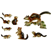 Miniature Bone China Chipmunk Squirrel Family of 8 Made in Japan Mid-Century Figurines