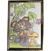 Gale Esch, Mouse Sitting at a Mushroom Table With Strawberry Soda Pencil Drawing Signed by Artist