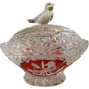 Vintage Hofbauer Cranberry Red Byrd Cut Crystal Glass Trinket Box Saw Tooth Scallop Edge Birds