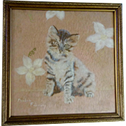 Barbra Farrow, Wool Felt Felting Lint Art Fuzzy Kitten and Flowers Signed by Artist