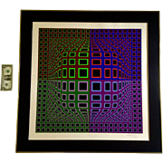 Victor Vasarely (1908-1997), Vega-Nor Op Art Optical Illusion Original Signed by Listed Artist Screenprint, Titled Sinpo, With COA Certificate of Authenticity