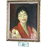 William Lobberegt, Oil Painting Portrait of a Lady Painted on Canvas Signed by Artist