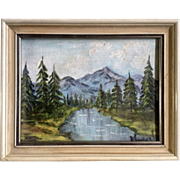 Muriel Wood, Miniature Oil Painting Quiet Mountain Lake Signed by Artist