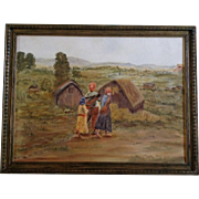 Oil Painting People Walking in a Rural Northern China Village