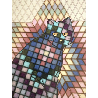 Metta Sager, Watercolor Painting of Cat in Quilted Pattern Works on Paper Signed by Colorado Artist