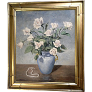 Ralph F Thompson, Oil painting on Board, Still life of Flower Vase and Pearl Necklace, Signed by Indiana Artist