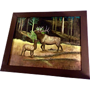 Phillips, Oil Painting of a Bugling Bull Elk in a Forest Clearing, Signed by Artist