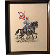 Original Eugene Leliepvre (1908-2013) Watercolor and Gouache Enhanced Print Painting Signed, Cavalry Officer, Southerner Confederate Flag, American Revolution Civil War