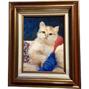 L Dooher, Kitty Cat Playing with a Ball of Yarn Oil Painting on Canvas Signed By Artist