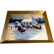 Al Schear, Church Gathering Winters Eve Horse and Buggy Large Oil Painting on Canvas Signed By Artist