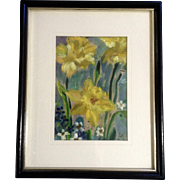 Beautiful Daffodils Mixed Media Painting Works on Paper Initialed by Artist