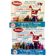 Vintage 1950's Amico Mighty Mite Christmas Light Replacements Bulbs With Santa Face Cardboard