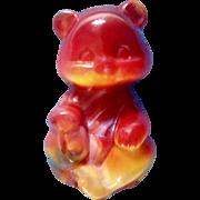 Vintage Fenton Art Glass Ruby Red Slag Glass Sitting Bear Figurine 1980's