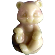 Vintage Fenton Art Glass Pink and Butter Cream Slag Glass Sitting Bear Figurine 1980's