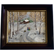 G Rode, Primitive Folk Art 1948 Watercolor and Tempera Painting, Winter Wonderland, Works on Paper Signed by Artist