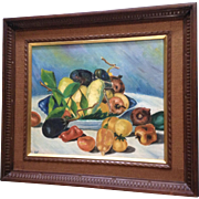Oil Painting on Canvas Panel Board Fresh Fruit and Vegetable Still Life Signed by Artist