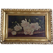 Antique Floral Roses Still Life Oil Painting on Canvas 19th Century