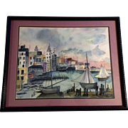 R Daves, Watercolor Painting Harbor Cityscape Works on Paper Signed by Artist