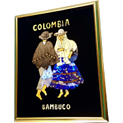 Vintage Butterfly Wing Souvenir Reverse Glass Colombian Butterflies with Two Bambuco Dancers, Picture Signed by Artist Bertha