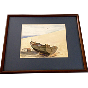 B. Drange, Fishing Boat on the Beach Landscape Watercolor Painting Works on Paper Signed By Artist