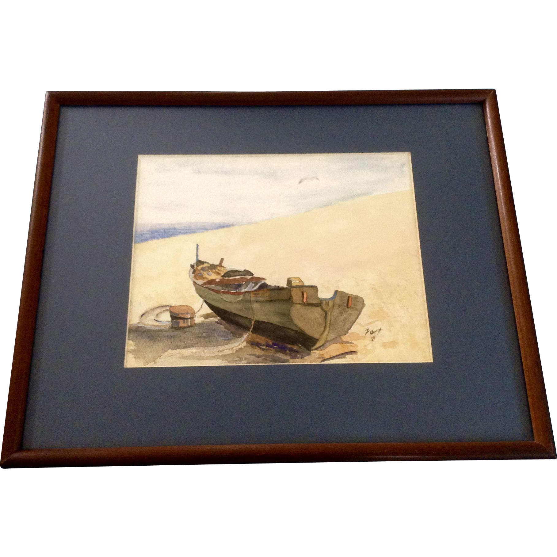 Beach Landscape With Fishermen: B. Drange, Fishing Boat On The Beach Landscape Watercolor