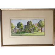 D. C. Asselin, Watercolor Painting of the East Cleveland Baptist Church Congregation Works on Paper Signed by Artist