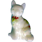 Fenton Glass Cat Opal Rainbow Christmas Holly Hand Painted Signed by Artist A. Fesley  Figurine
