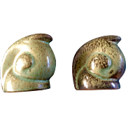 Rare Vintage Frankoma Pottery Snail Salt & Pepper Shakers Prairie Green Ada Clay 1940's