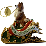 Retired Danbury Mint 2005 Sheltie Christmas Ornament,  Santa's Helper Collie Dog Figurine