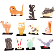 Vintage Plastic Animals Place Card Holders