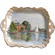 Vintage Jennie V Fabiano, Sailboat on a Lake Hand Painted Porcelain Plate Serving Tray Signed by Artist