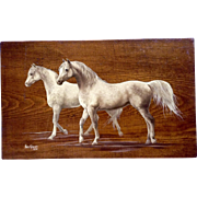 Pam Gibson, Oil Painting on Board Two Horses Painted 1975 Signed by Artist
