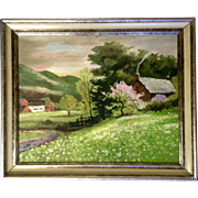 Diane Albrecht, Oil Painting of Vermont Countryside With Tree in Bloom