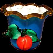 Vintage Cased Art Glass Vase Vivid Blue Applied Fruit  Cup Glass Vintage