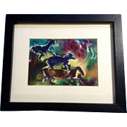 T Swick C, Ink Painting on Silk, Horses Galloping Signed by Artist