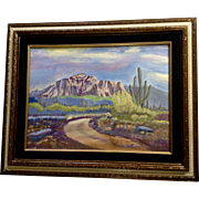 Sonoran Desertscape Mesa, Acrylic Painting on Canvas Panel Monogrammed by Artist