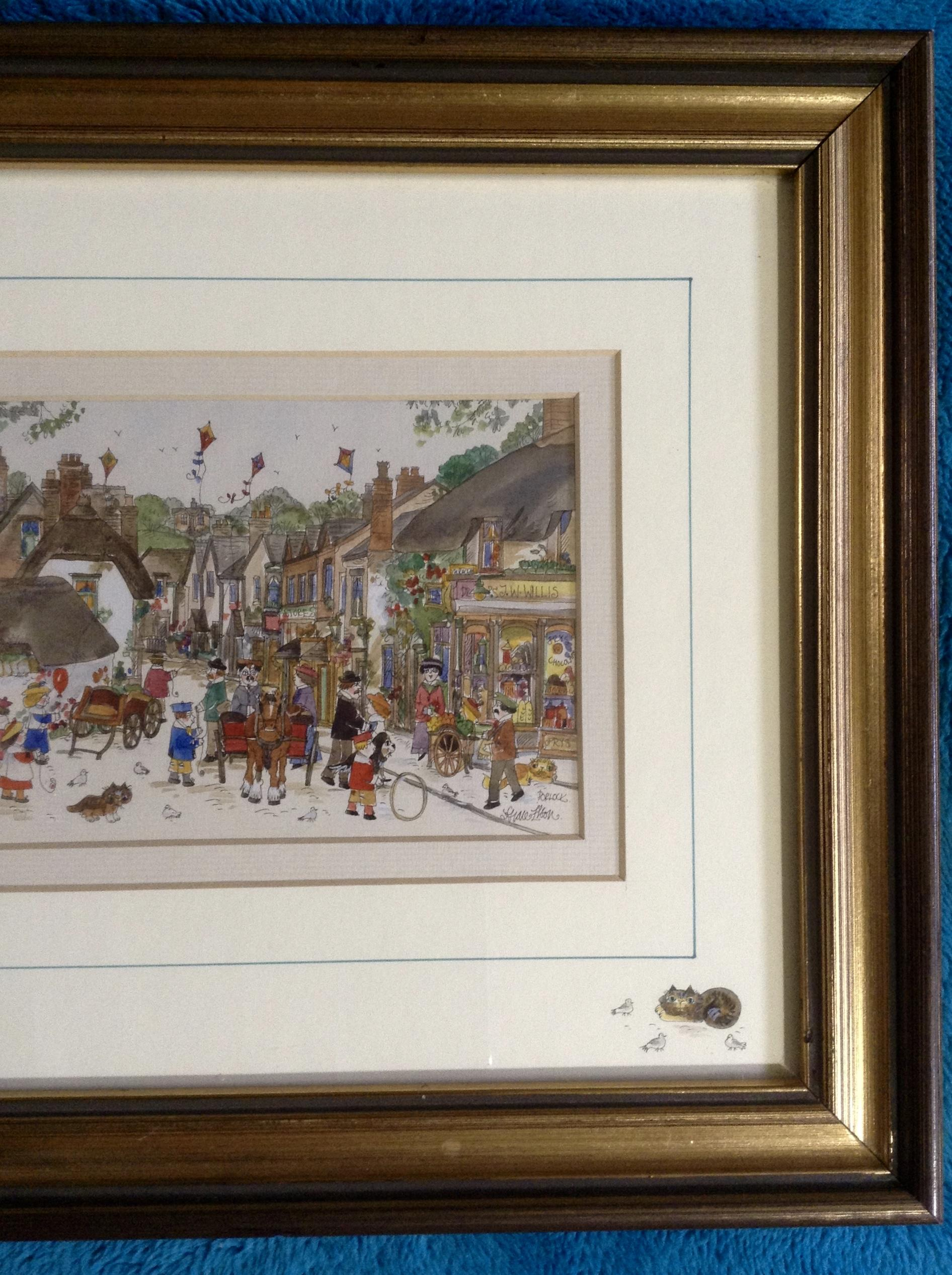 Diane Elson Folk Art Watercolor Painting Of A Busy Street