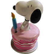 Rare Discontinued Surprise Birthday Cake Ultimate Snoopy Hand Painted Danbury Mint Miniature Figurine