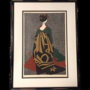"Kiyoshi Saito (1907-1997), Japanese Woodblock Woodcut Print ""Girl in a Kimono"" Original Color , Signed"