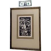 Maria Noe, Old Man Jeff, Woodcut Etching Works on Paper Signed by Artist