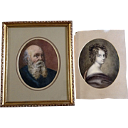 A Mason, Watercolor Paintings Old Man and Beautiful Woman, Works on Paper Signed by Artist