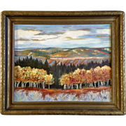 Jean Ethel Looyestyn (Born 1887) Oil Painting on Canvas Spectacular Fall View From Hillside, Signed