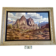 Charles Frank Chilton (1904-1973), Oil Painting on Canvas Southwestern Arizona Desert Landscape Signed by Listed California Artist