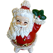 Vintage Santa Claus Coin Bank Christmas Ceramic Spaghetti Trim Imported From Japan Figurine