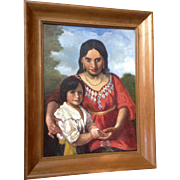 W. E. Frederick, Oil Painting on Canvas Spanish Woman with Child Signed by Artist
