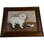 Marsha A Tanis, Maltese Mix Dog with Sleeping Puppies, Oil Painting on Canvas Signed by Artist